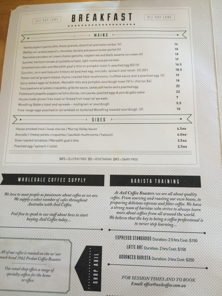 Axil Coffee Roasters Breakfast Menu