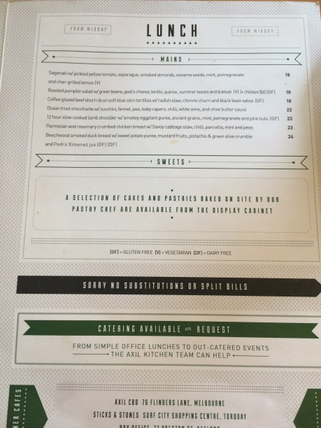 Axil Coffee Roasters Lunch Menu