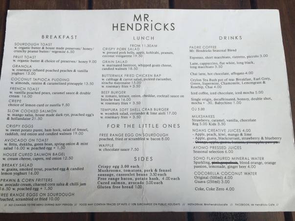 Mr. Hendricks Menu