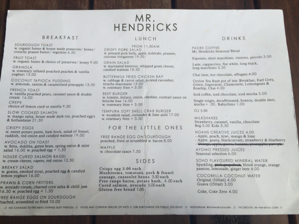 Mr. Hendricks Menu