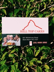 Hill Top Cakes Business Card  601 Whitehorse Road, Mont Albert