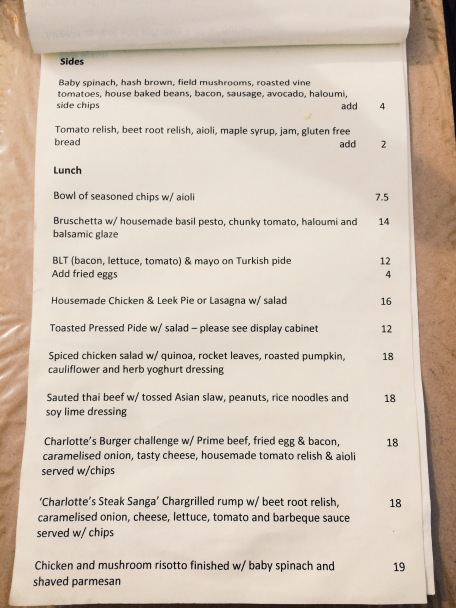Charlotte's Corner Lunch Menu
