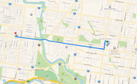 Map from Glenferrie road to Bridge Road