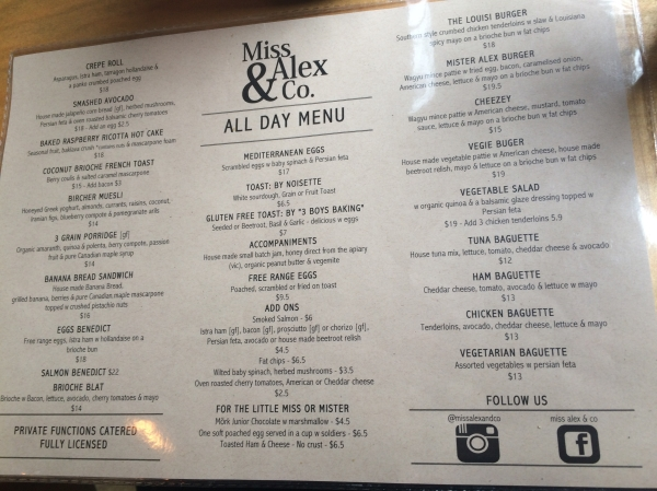 Menu at Miss Alex & Co