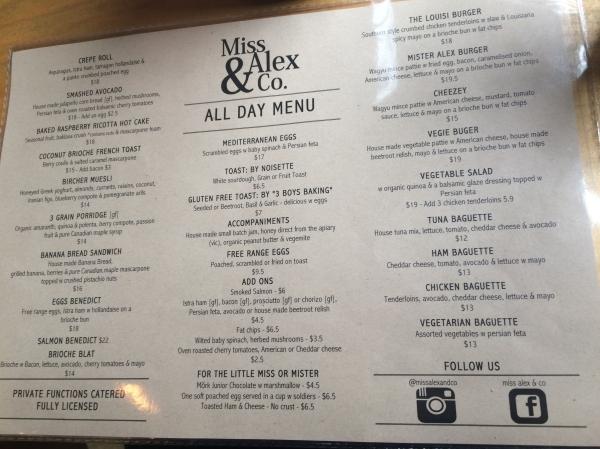 Menu at Miss Alex & Co